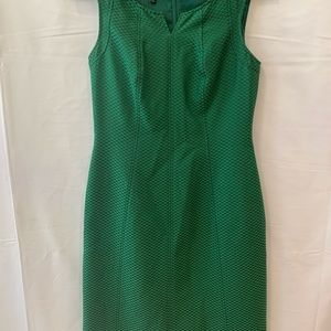 Talbots black label green textured dress Sz 4P